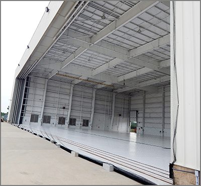 Airport Hanger with door to outside